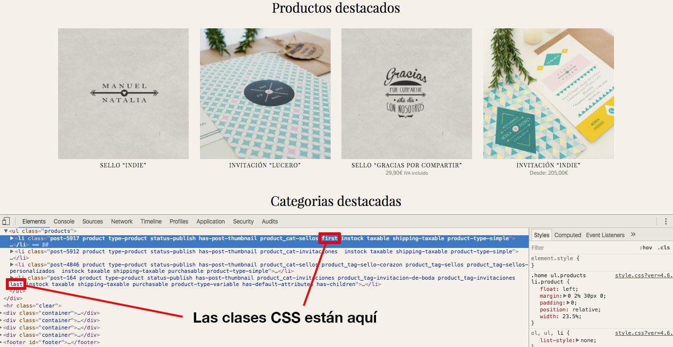 Productos WooCommerce con etiquetas CSS correctamente puestas