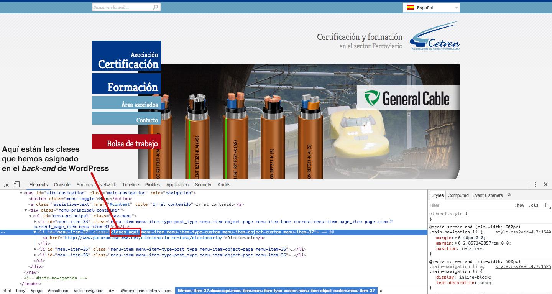 Clases CSS asignadas a un elemento del menú WordPress
