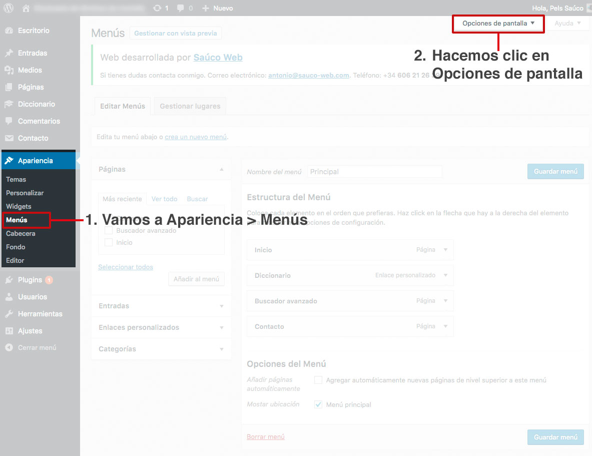 Backend de WordPress. Sección menús