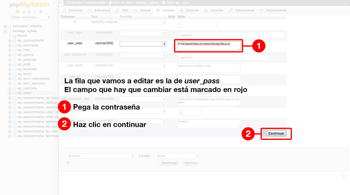 Base de datos de WordPress, tabla wp_users